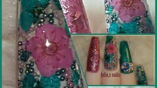 Dried flowers gel nail art teal pink