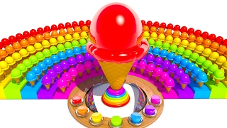 A lot of 3D Ice Cream Learning Colors for Kids and Children Popsicle Rainbow