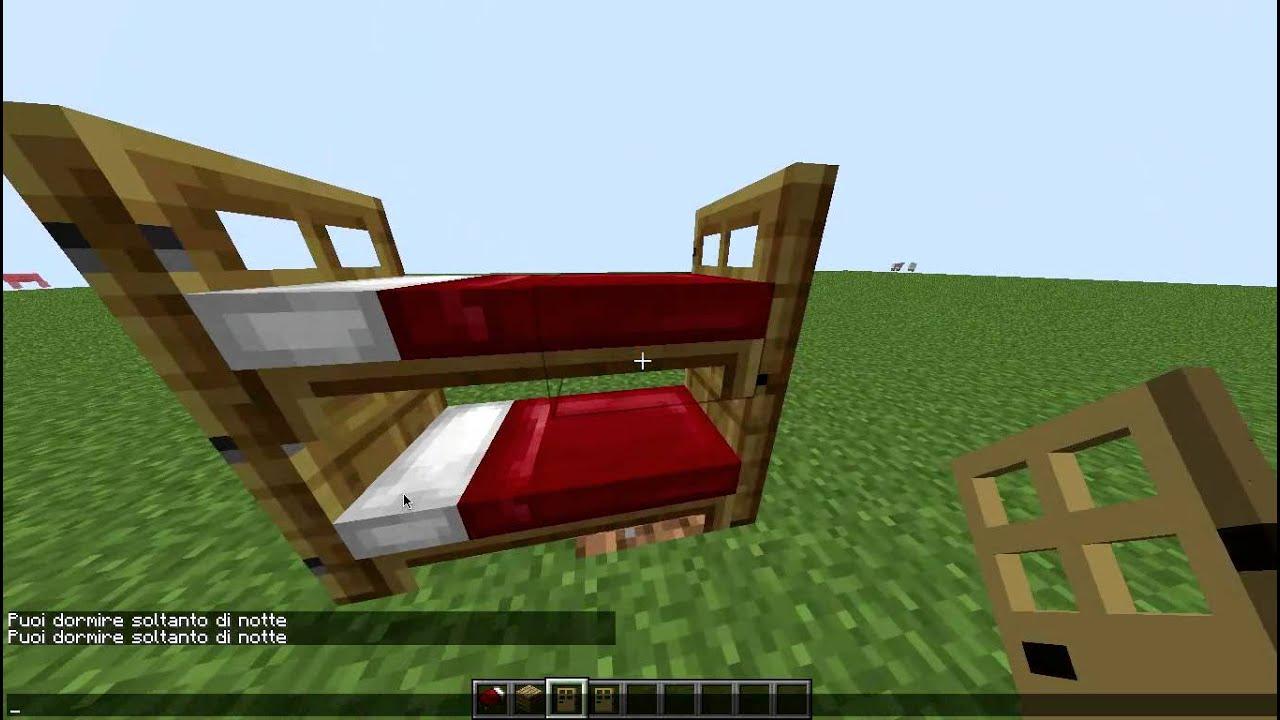 Minecraft ] Come creare un letto a castello - YouTube