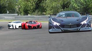 Ferrari F80 Concetp vs Nissan Vision GT vs Apollo Intensa Emozione vs Citroen GT at Nordschleife