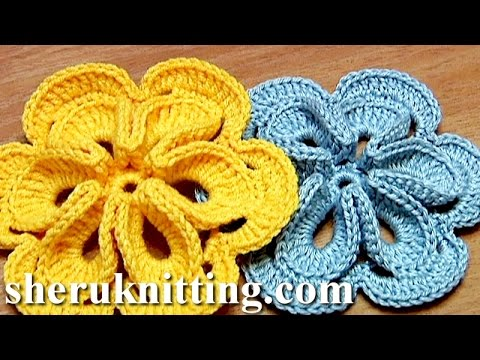 Crochet Flower with Six Petals and 3D Center How To Tutorial 30 Πώς ...