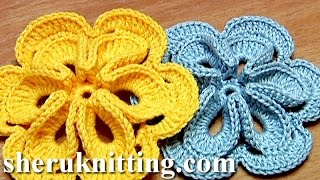 Repeat youtube video Crochet Flower with Six Petals and 3D Center How To Tutorial 30 Πώς να πλέκω λουλούδι