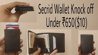 Black Leather RFID Wallet with money pocket (Secrid Wallet Knock Off Under $6-10)