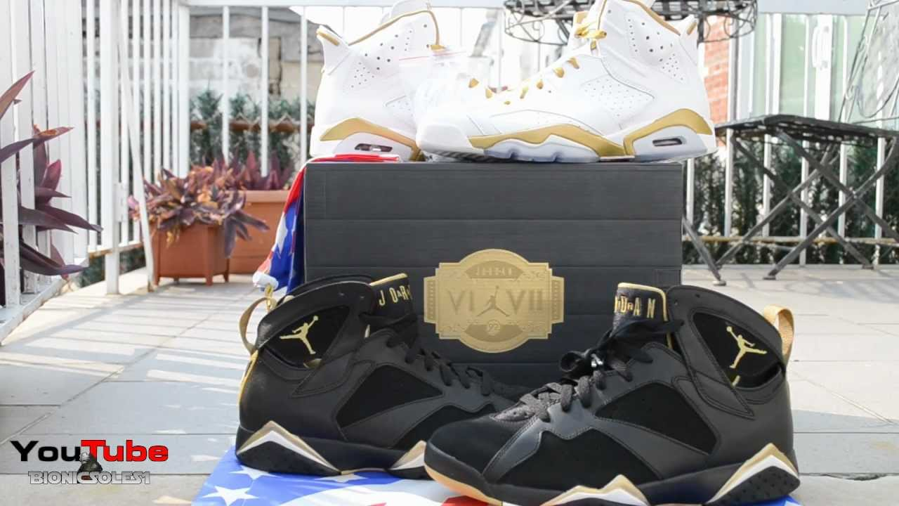 big sale 94917 1e432 Air Jordan VI VII Golden Moments Pack Retro 6 and 7 GMP