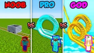 Minecraft NOOB vs. PRO vs. GOD: ROLLER COASTER CHALLENGE in Minecraft!