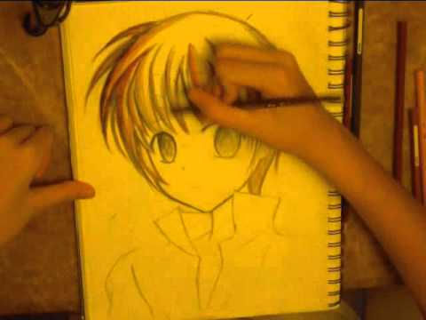 Drawing anime boy using watercolor pencils part 1