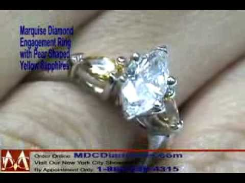 Marquise Diamond Engagement Ring With Pear Shape Tangerine