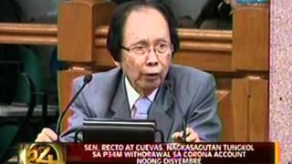 Sen. Recto at Cuevas, nagkasagutan tungkol sa P34M withdrawal sa Corona Account noong disyembre