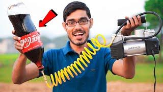 Compressor Powered Coca-Cola Bottle Rocket | हवा से उड़ाई राकेट