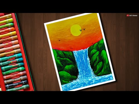 Waterfall Drawing For Beginners With Oil Pastels Step By Step