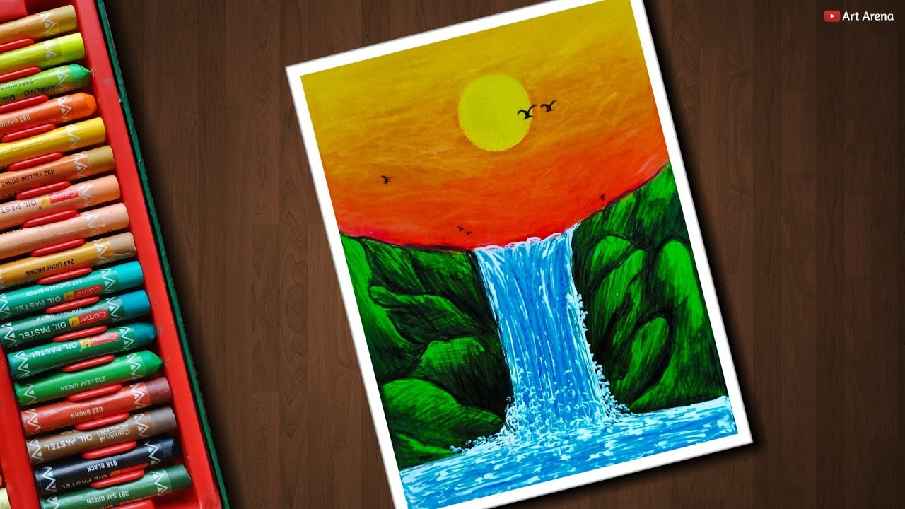 Waterfall Drawing For Beginners With Oil Pastels Step By Step Youtube