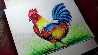 How to Draw Rooster Color Painting for Kids