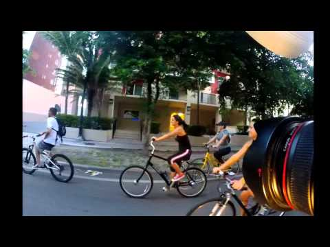 Miami Critical Mass July 2014 - Photographer on Rollerblades