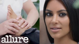 Kim kardashian interviewed about kanye while getting a foot massage | allure
