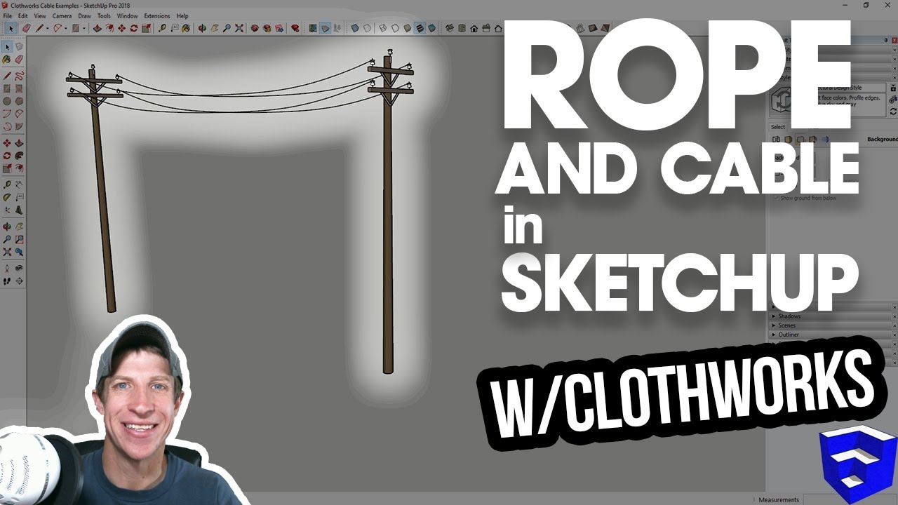 ROPE AND CABLES IN SKETCHUP with Clothworks - The SketchUp