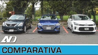 Hyundai Accent vs. Kia Rio vs. Nissan Versa Comparativa AD смотреть