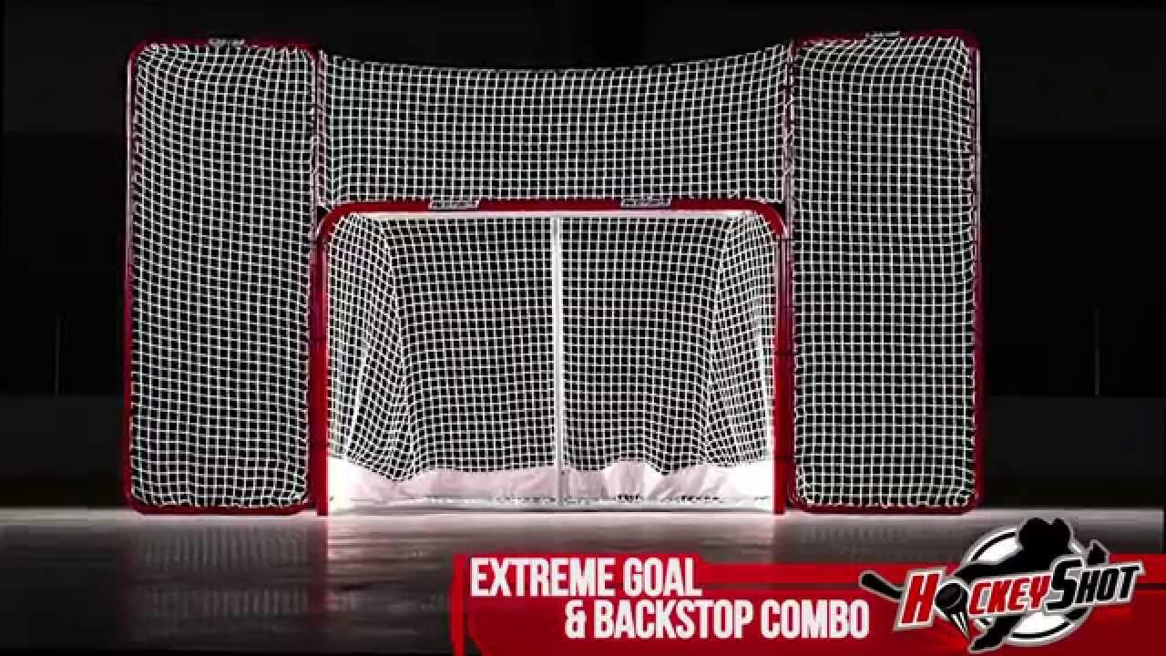 Extreme Hockey Goal & Backstop Combo - by HockeyShot com