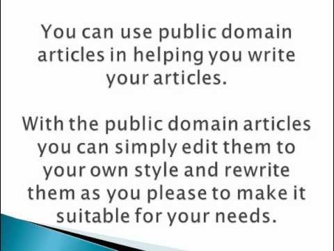 The Easiest Way to Create Articles -- Public Domain!