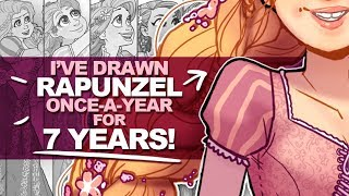 7 YEARS OF PROGRESS! | Drawing Rapunzel for the 7th Time! | Photoshop Draw This Again Challenge