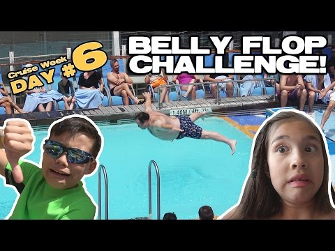 BELLY FLOP CHALLENGE!!!  Rock Wall, BINGO, Ice Skating, Pets & Sea! [CRUISE WEEK DAY 6]