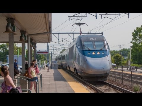 HD 150 MPH Acela Express meets Amtrak Regional