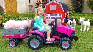 Nastya chơi với đồ chơi nông trại
