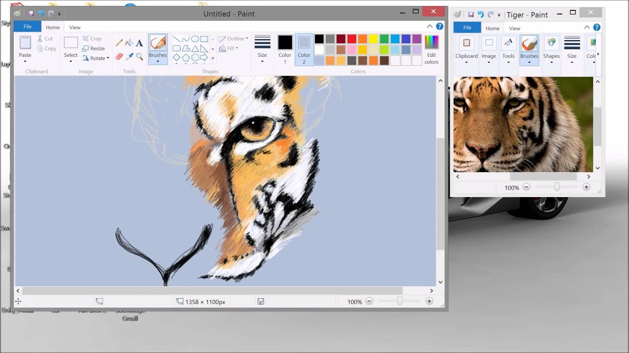 Amazing Microsoft Paint Speed Art Tiger Youtube