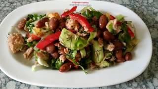 Быстрый салат с тунцом и фасолью   Quick salad with tuna and beans