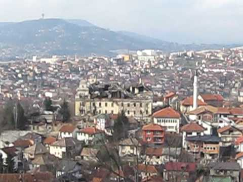 Mountain top view on some destroyed buildings in Sarajevo
