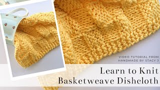 Learn to Knit - Basketweave Dishcloth - Continental