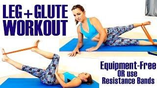 Slim Thighs & Butt Lift At Home Exercises – Optional Resistant Band Yoga Workout
