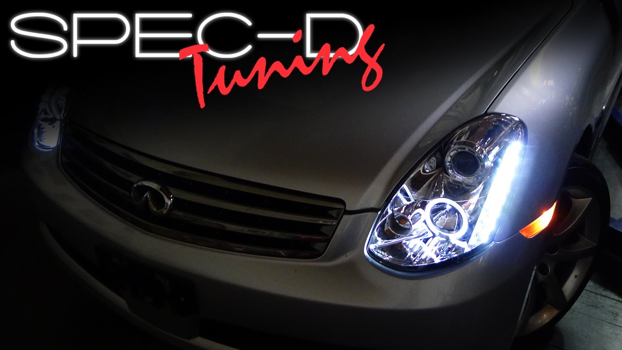 medium resolution of specdtuning installation video 2005 2006 infiniti g35 sedan projector headlights youtube