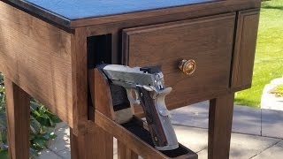 This NightWatch End Table, from AZ Concealment, hides firearms and valuables. It is made of Walnut, and is RFID activated (just