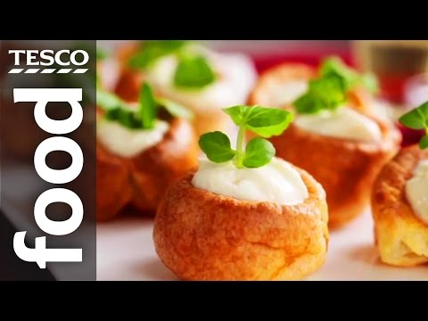 How to Make Mini Yorkshire Puddings with Horseradish Sauce | Tesco Food