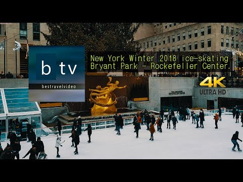 New York City, USA Winter 2018 ice-skating Bryant Park - Rockefeller Center.