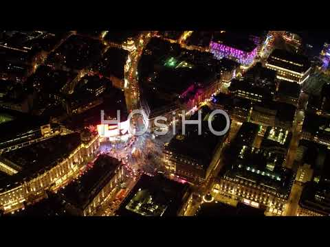 Aerial view of Piccadilly Circus, Statue of Eros, London, United-Kingdom