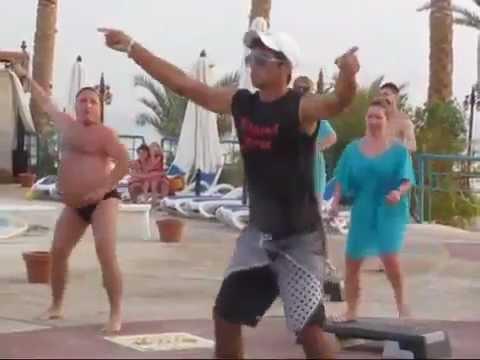 Fat Russian guy dancing in speedo