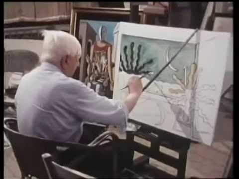 Giorgio de Chirico dipinge dal vivo Il sole sul cavalletto 1973