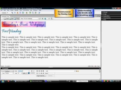 Dreamweaver 4 Understanding Line Breaks And Non-Breaking Spaces