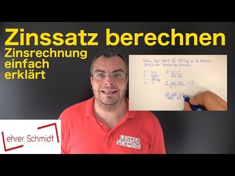 Zinssatz Berechnen - Zinsen Und Zinsrechnung - Formel Umstellen | Lehrerschmidt