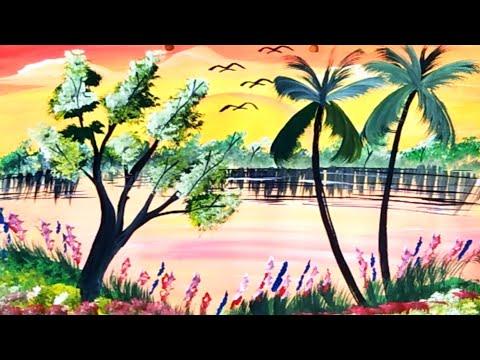 पेंटिंग बनाने का आसान तरीका।।How to draw a landscape painting step by step…
