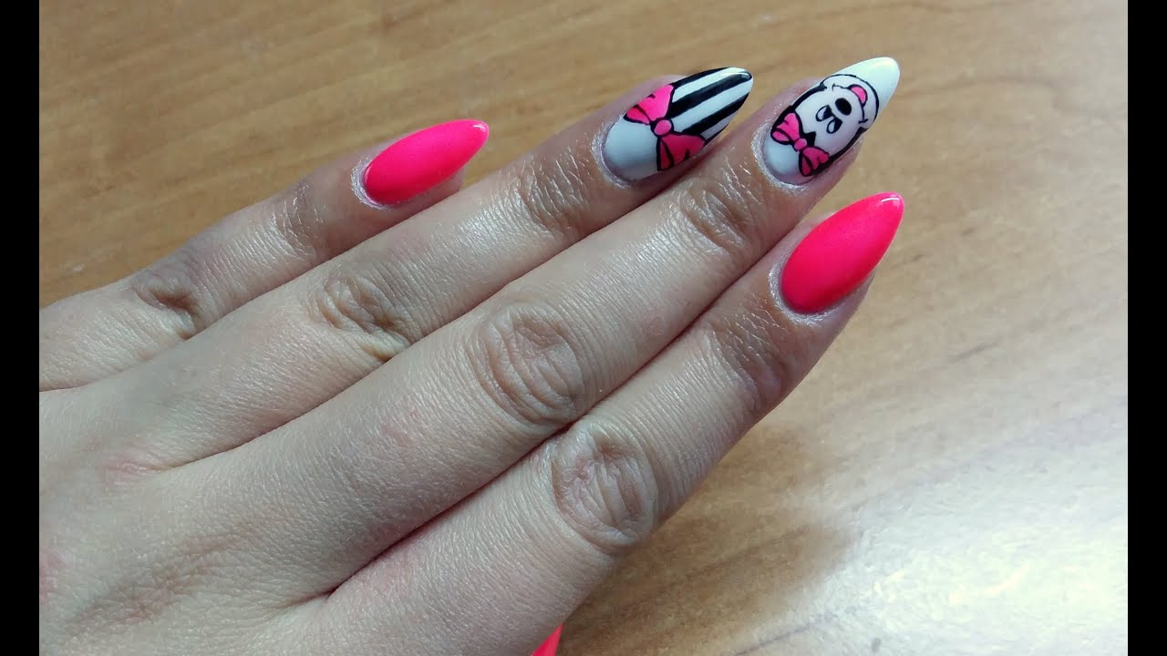 sweet nails-minnie mouse nail art