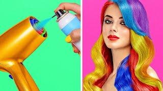 CIEKAWE POMYSŁY NA PIĘKNY WYGLĄD || Niezwykłe pomysły na fryzury i makijaż