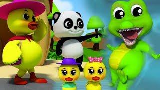 Пять маленьких уток Рифмы для детей Дети стихи Baby Panda 3D Songs for Kids Five Little Ducks Rhyme