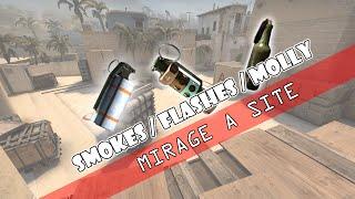 CSGO - MIRAGE A SITE - SMOKES/FLASH/MOLOTOV TRICKS!