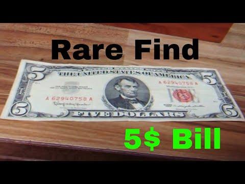 5$ red seal 5 dollar bill