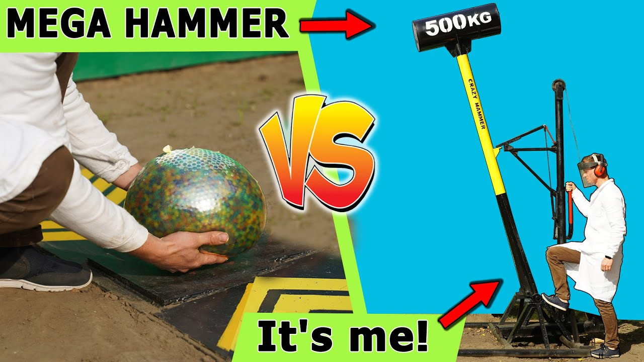 Giant 500 kg hammer vs big slime, balloon orbeez, anance, bananas