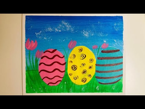Acrylic Painting Tutorial Easter / Easter Eggs Painting with Acrylics on Canvas / Easter Ideas