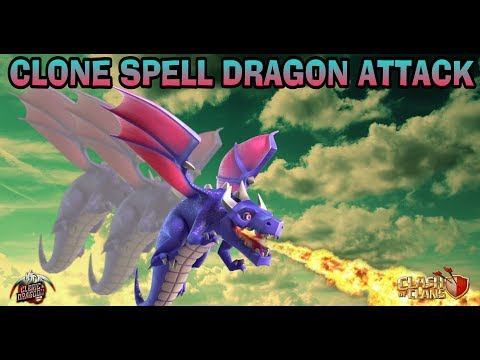 (BEST DIPPING STRATEGY AT TH11)-CLONE SPELL DRAGON ATTACK-CLASH OF CLANS-TH11VTH10