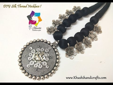 Easy DIY Black Silk Thread Oxidised Necklace | Handmade Jewellery | Jewellery Making
